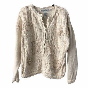 Textured Open Knit Cottagecore Grandma Sweater